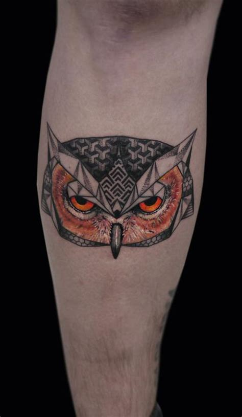 abstract owl tattoo linework dotwork semi realistic color abstract owl