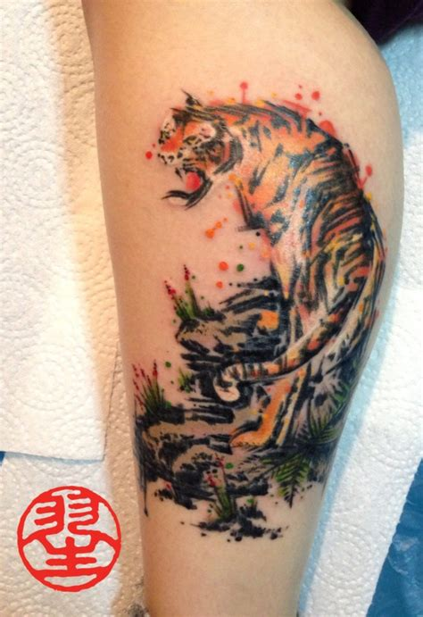 watercolour tiger kalligrafie tattoo habu san philip