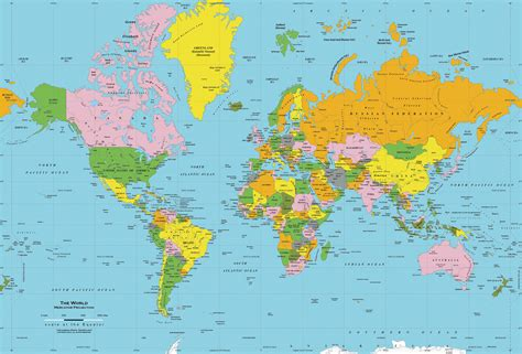World Map Print by Classic Colors World Political Map Wall Mural Mercator