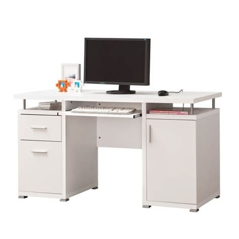 Coaster Computer Desk In White 800108 White Desk Computer