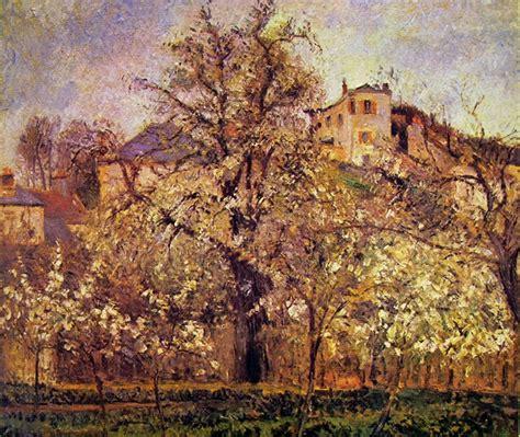 alberi in fiore a primavera frutteto con alberi in fiore pissarro