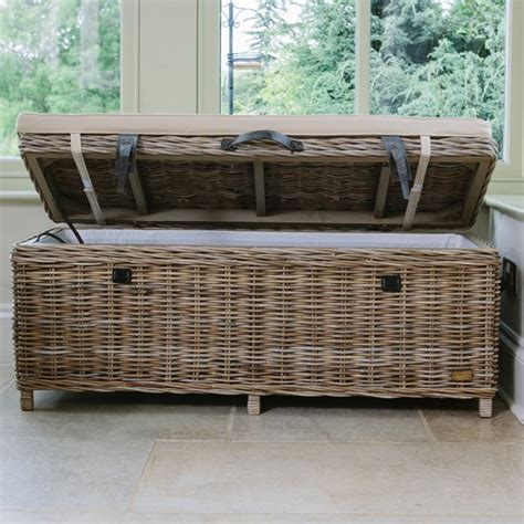 Wicker Storage Bench Rattan Storage Bench Basket Trunk With Storage Curiosity Interiors