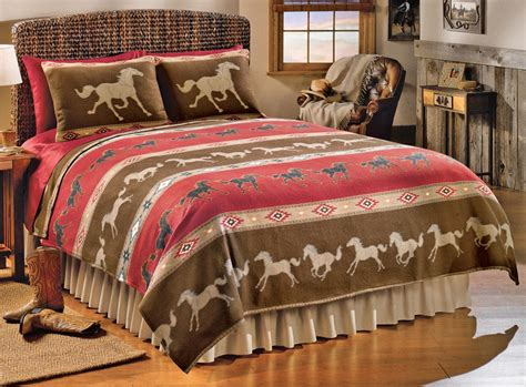 western horse fleece coverlet bedding ebay