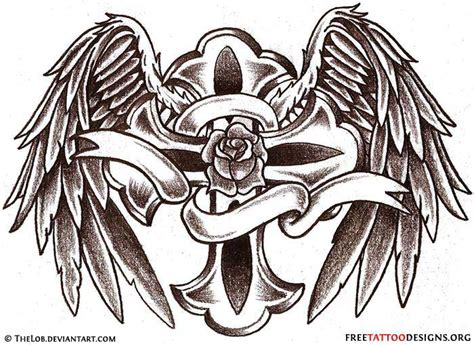 rose tattoo with angel wings 50 cross tattoos designs of holy christian