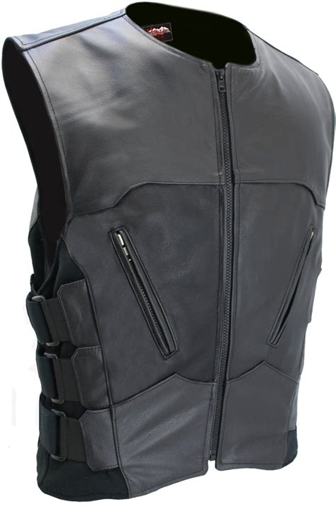 Men S Interceptor Leather Vest Made Out Of Black Leather