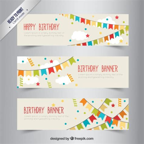 layout de banner gratis birthday banners with bunting vector free download