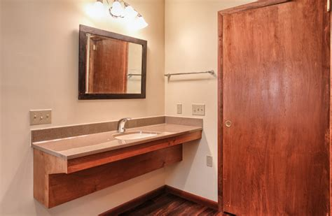 accessible bathroom vanity with wheelchair space