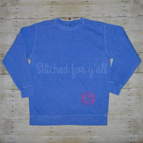 Monogrammed Comfort Colors Sweatshirt by Comfort Colors Monogrammed Sweatshirt Stitched For Y All