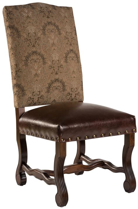 New Pair Dining Chairs Brown Leather Wood Beige Fabric Leather Wood Dining Chairs