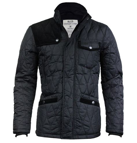 jones max mens designer quilted jacket black ebay