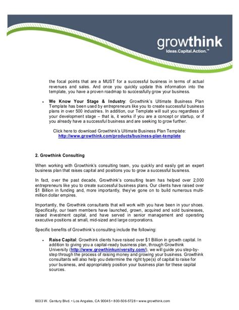 Growthink Business Plan Template by Business Plan Template Growthink 28 Images Growthink