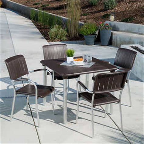 Musa 5 Piece Commercial Dining Set In Caffe By Nardi Commercial Outdoor Dining Furniture