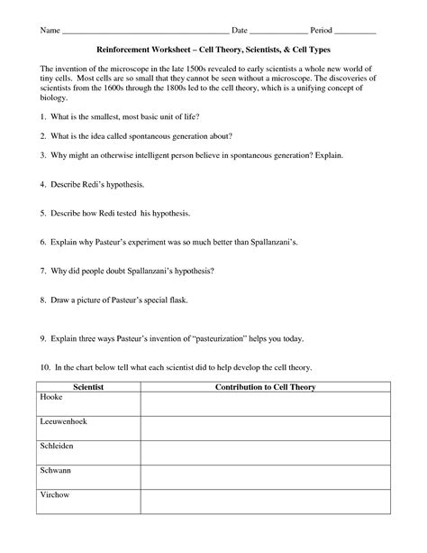 cell theory worksheet middle school 15 best images of cell theory worksheet answers prokaryotic and eukaryotic cells worksheet