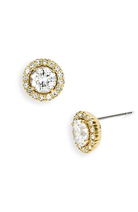 in stud earrings nadri cubic zirconia stud earrings in gold lyst