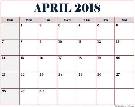 printable calendar april 2018 april 2018 calendar free printable