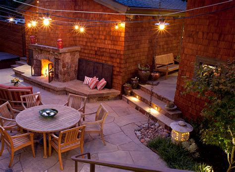 Backyard With Lights by String Lights In An Inviting Backyard Decoist