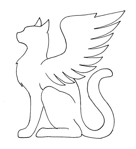 winged cat coloring page winged cat silhouette templates pinterest cat