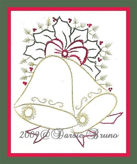 pattern christmas card christmas bells and holly paper embroidery pattern for