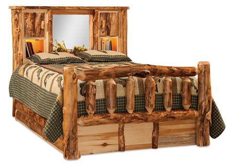 Rustic Aspen Log Bed With Bookcase Headboard From