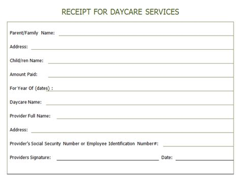 daycare tax receipt template receipt for year end daycare services