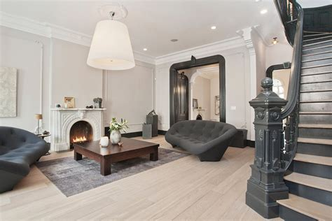 Adirondack Home Decor white oak wood flooring living room transitional with