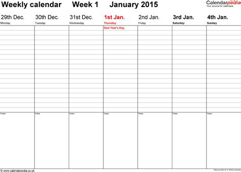 one week calendar template word weekly calendar 2015 uk free printable templates for word