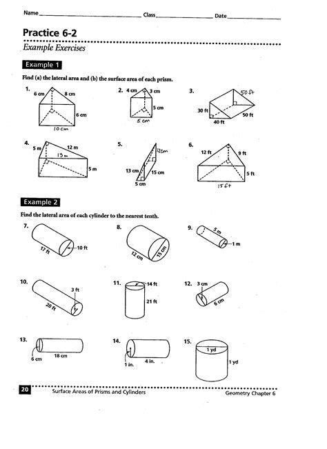 printable math worksheets surface area volume and surface area of cylinders worksheet worksheets