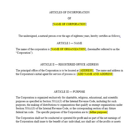 Nonprofit Articles Of Incorporation Harbor Compliance Articles Of Organization Template