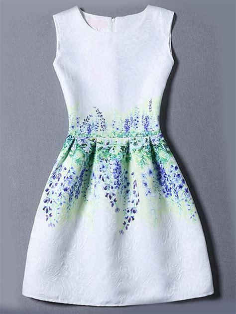 Dress Vintage Motif Print Burung robe multicolore vintage motif fleuri shein sheinside