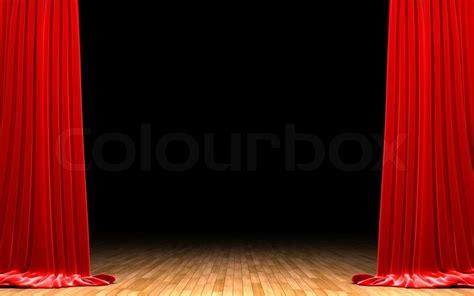 curtain scene red velvet curtain opening scene stock photo colourbox