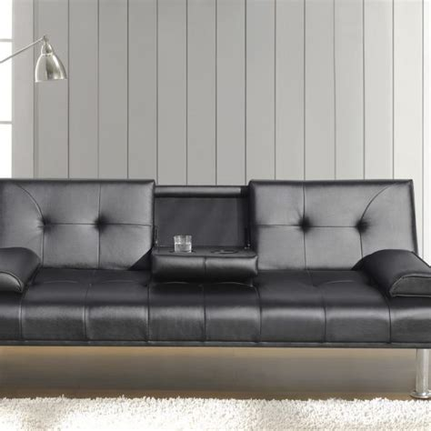 sofa bed with cup holder faux leather sofa bed with cup holder available in black