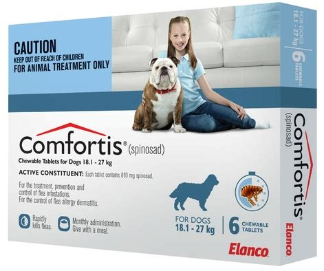 comfortis for dogs 40 60 lbs comfortis for large dogs 18 1 27 kg 40 1 60 lb blue elanco