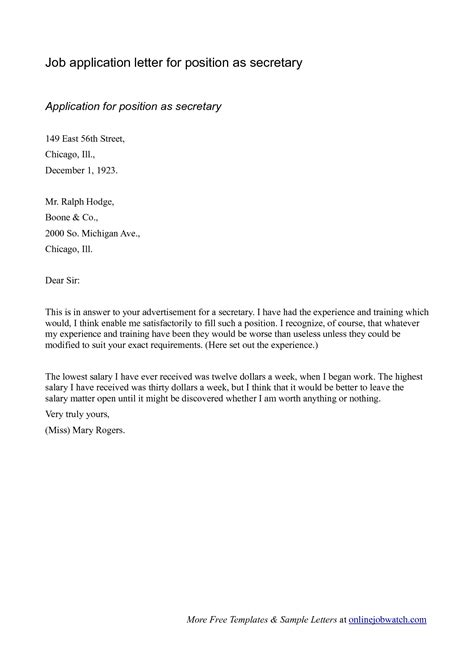 application letter cvs
