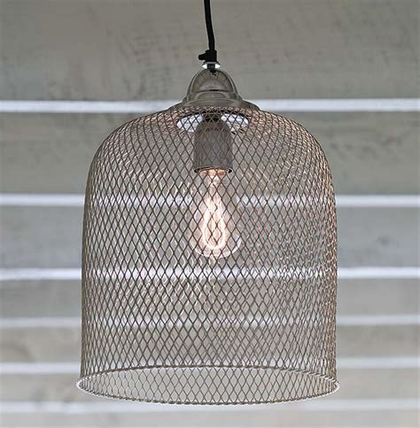 Winslow Industrial Loft Silver Nickel Cage Pendant Light Cage Lighting Pendants