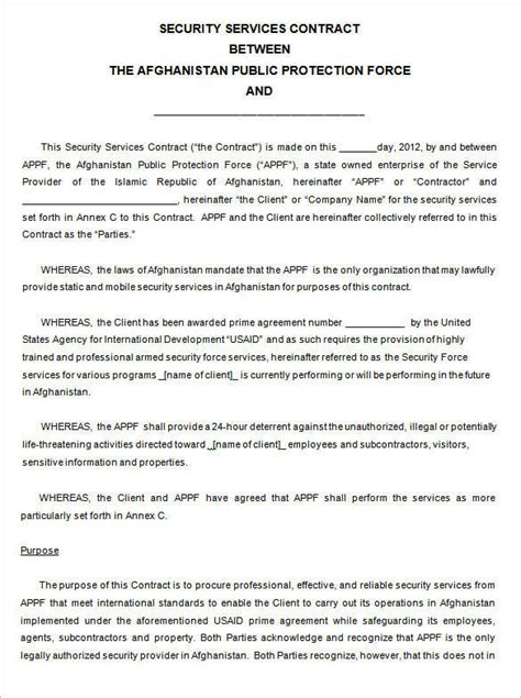 9 Security Contract Sles And Templates Pdf Word Staking Contract Template