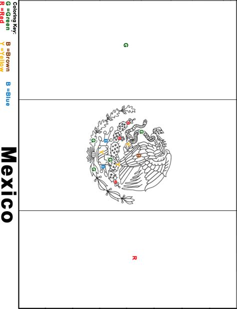 flag coloring pages with key mexico flag coloring page key