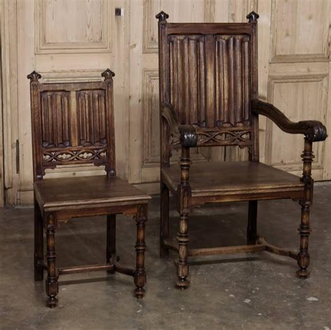 gothic dining room furniture set of six 19th century french gothic dining chairs early