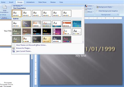 edit themes powerpoint 2007 view and apply a theme theme 171 editing format