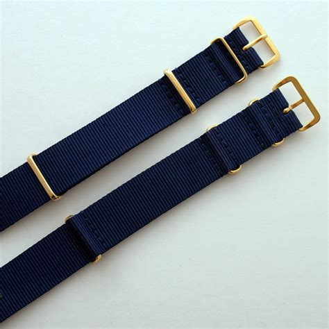 Nato 2 Navy 2 Purple Buckle Gold navy nato with gold buckle heat sealed heavy 18mm 20mm