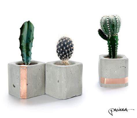 Concrete Decor | geometric concrete copper cups set of 3 small cube concrete