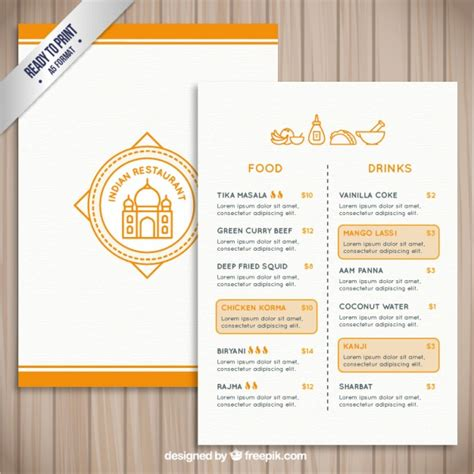 indian restaurant menu template indian restaurant template vector free