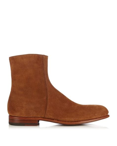 mens chelsea boots with side zip armando cabral side zip suede chelsea boots in multicolour