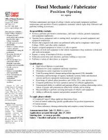 Diesel Mechanic Resume Exle by Equipment Mechanic Sle Resume