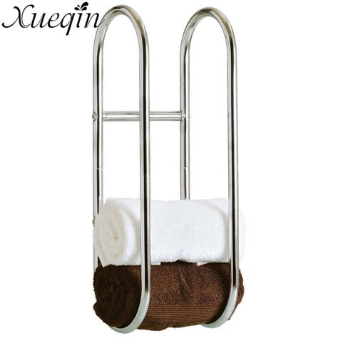wall mounted bathroom towel rack xueqin wall mounted metal bath towel rack folding movable