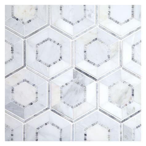 grey hexagon pattern concentric hexagon mosaictile arcello and grey marble