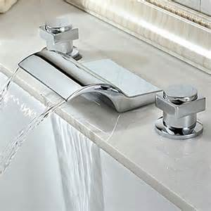 contemporary chrome finish waterfall widespread tub faucet