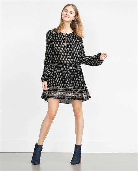 Dress Zara zara printed dress in black lyst