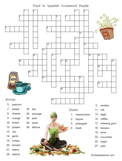 food puzzles printable spanish