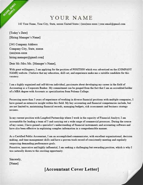 Cover Letter Format Accounting Accounting Finance Cover Letter Sles Resume Genius