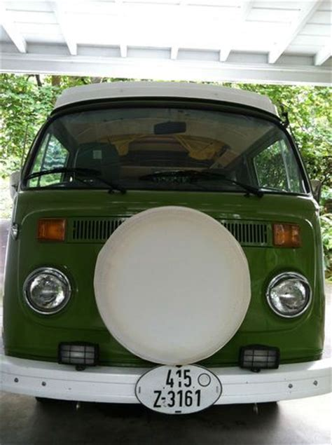 purchase   volkswagen westfalia type  bus sage green plaid interior yellow pop top